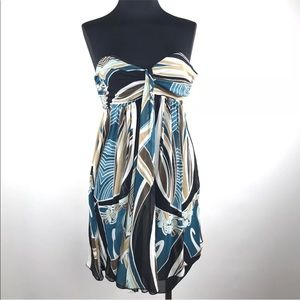 Express Silk Strapless Print Flowy Tunic Top Dress